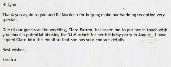on of the DJ reviews for DJ Murdoch for a Wedding at Trafalgar Tavern