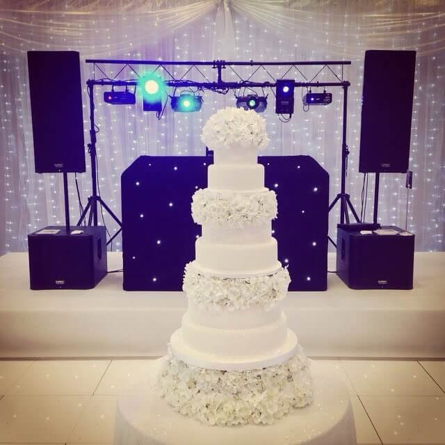 Wedding Cake and Decks set up for DJ Hire Kent.
