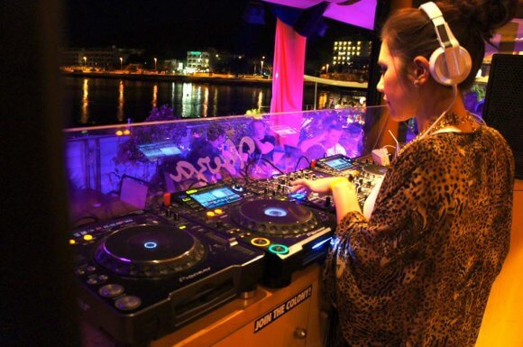 Performance by female DJ alice in Ibiza