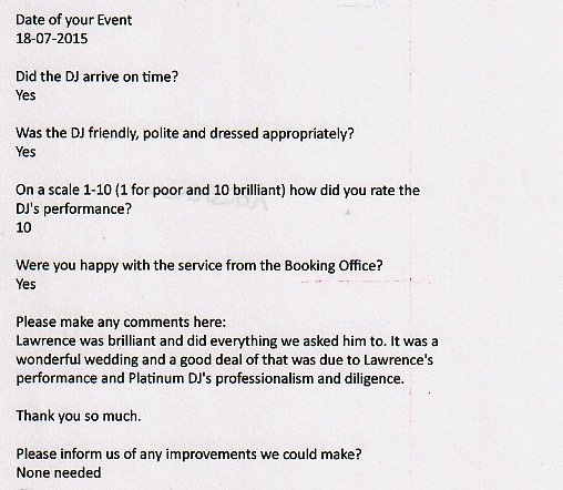 Rated 10 on one of DJ Lawrence's DJ reviews for a Wedding performance