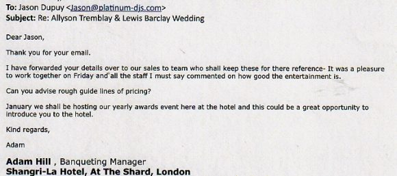 DJ jason Dupuy has received many DJ reviews including this one for a Wedding at the Shard in London.