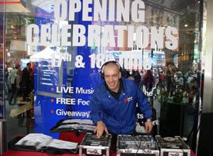 Store opening with professional DJ Lawrence in London.